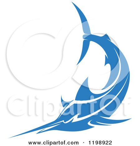 Clipart of a Simple Blue Marlin Fish 3 - Royalty Free Vector Illustration by Vector Tradition SM