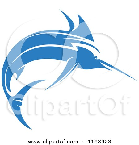 Clipart of a Simple Blue Marlin Fish 4 - Royalty Free Vector Illustration by Vector Tradition SM