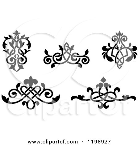 Clipart of Black and White Ornate Floral Victorian Design Elements 3 - Royalty Free Vector Illustration by Vector Tradition SM