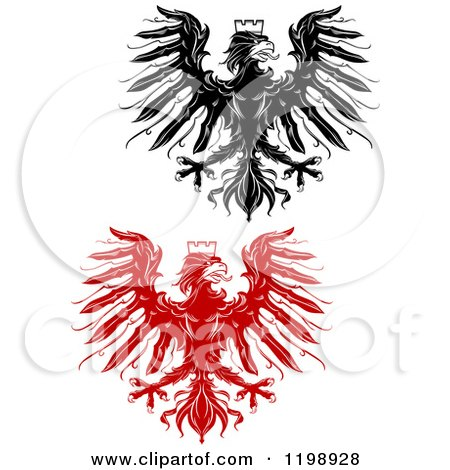 Clipart of Black and Red Heraldic Eagles with Crowns - Royalty Free Vector Illustration by Vector Tradition SM
