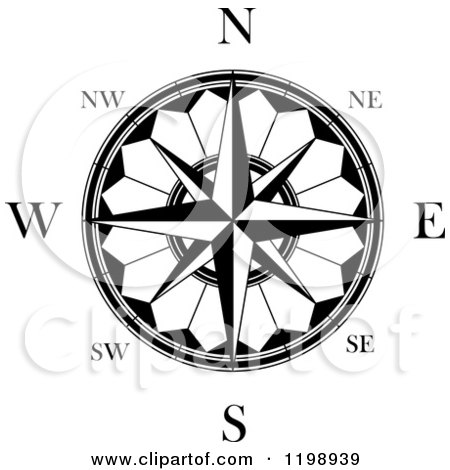 Black And White Compass Rose 6 Compass Rose Clipart Black And White