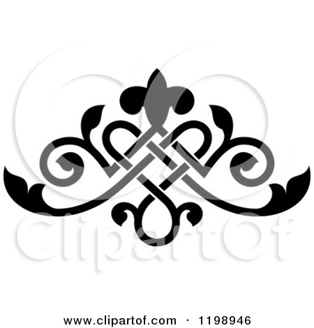 Clipart of a Black and White Ornate Floral Victorian Design Element 9 - Royalty Free Vector Illustration by Vector Tradition SM