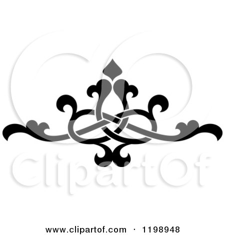 Clipart of a Black and White Ornate Floral Victorian Design Element 10 - Royalty Free Vector Illustration by Vector Tradition SM