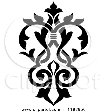 Clipart of a Black and White Ornate Floral Victorian Design Element 6 - Royalty Free Vector Illustration by Vector Tradition SM