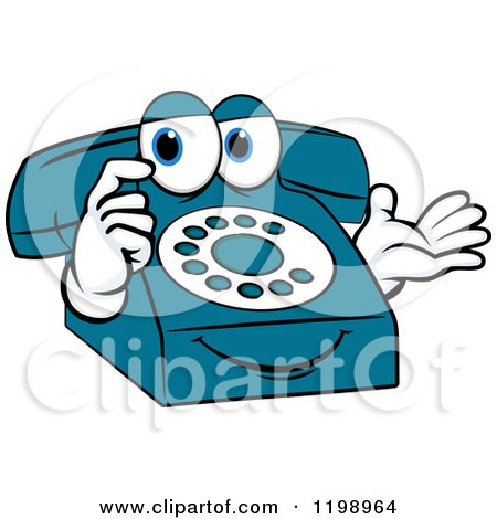 Clipart of a Thinking Blue Telephone Mascot - Royalty Free Vector Illustration by Vector Tradition SM