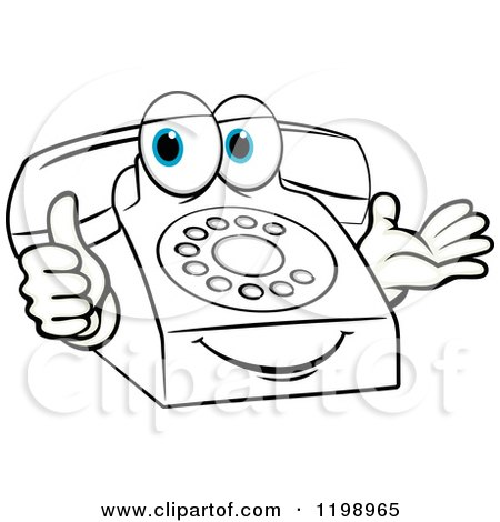 Clipart of a Blue Eyed Telephone Mascot Holding a Thumb up - Royalty Free Vector Illustration by Vector Tradition SM