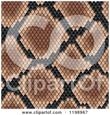 Clipart of a Seamless Brown and Black Snake Skin Pattern - Royalty Free Vector Illustration by Vector Tradition SM