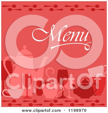 Clipart of a Red Beverage Menu Cover - Royalty Free Vector Illustration by Vector Tradition SM