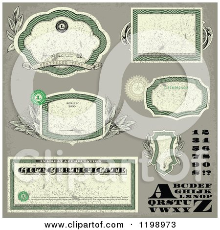 Clipart of Distressed Green Money Themed Frames Letters Numbers and Certificates - Royalty Free Vector Illustration by BestVector
