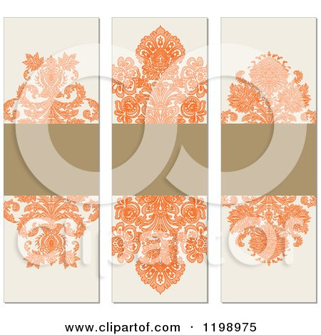 Clipart of Orange Brown and Beige Vertical Damask Labels with Copyspace - Royalty Free Vector Illustration by BestVector