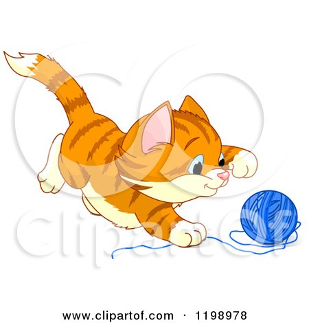 Cartoon of a Cute Frisky Ginger Kitten Playing with Yarn - Royalty Free Vector Clipart by Pushkin