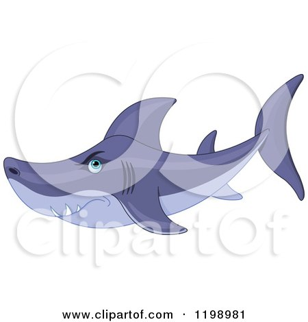 Cartoon of a Mean Shark - Royalty Free Vector Clipart by Pushkin