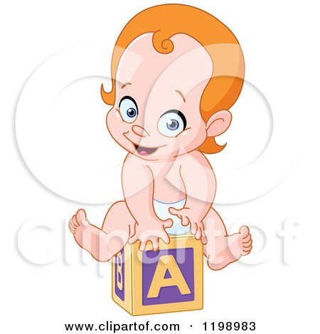 Cartoon of a Happy Red Haired Caucasian Baby on an Alphabet Block - Royalty Free Vector Clipart by yayayoyo