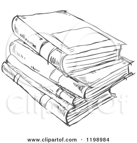 Cartoon of a Black and White Stack of Books Doodle Sketch - Royalty Free Vector Clipart by yayayoyo