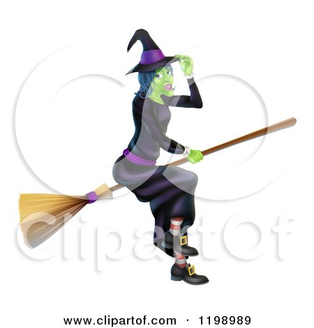 Cartoon of a Green Hallowen Witch Tipping Her Hat and Flying on a Broom - Royalty Free Vector Clipart by AtStockIllustration