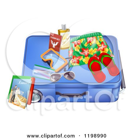 Cartoon of a Blue Suitcase with Travel Items and a Passport - Royalty Free Vector Clipart by AtStockIllustration