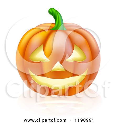 Cartoon of a Carved Halloween Jackolantern Pumpkin with a Smile - Royalty Free Vector Clipart by AtStockIllustration