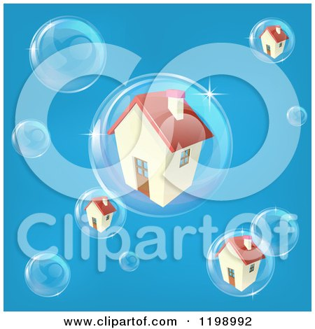 Cartoon of a Bubble in the Housing Market with Homes in Bubbles on Blue - Royalty Free Vector Clipart by AtStockIllustration