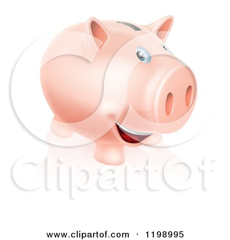 Cartoon of a Happy Pink Piggy Bank Smiling - Royalty Free Vector Clipart by AtStockIllustration