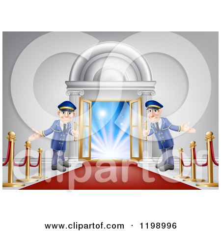 Cartoon of a Venue Entrance with a VIP Red Carpet and Welcoming Friendly Doormen - Royalty Free Vector Clipart by AtStockIllustration