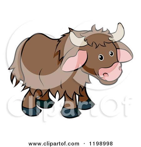 Cartoon of a Cute Browk Yak - Royalty Free Vector Clipart by AtStockIllustration