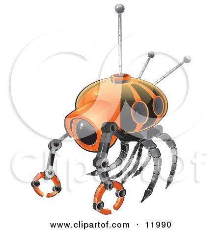 Orange Search Robot Clipart Illustration by Leo Blanchette