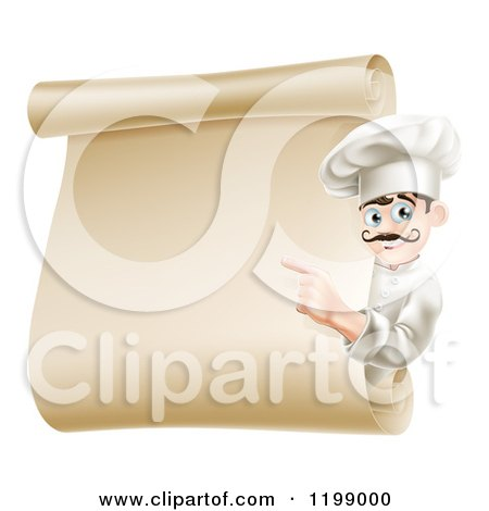 Cartoon of a Friendly Chef Pointing to a Scroll Menu - Royalty Free Vector Clipart by AtStockIllustration