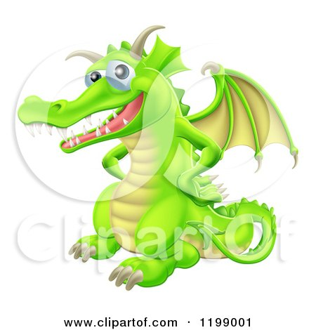 Cartoon of a Happy Green Dragon with His Hands on His Hips - Royalty Free Vector Clipart by AtStockIllustration