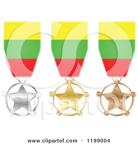 Clipart of Silver Gold and Bronze Star Medals with Lithuania Flag Ribbons - Royalty Free Vector Illustration by Andrei Marincas