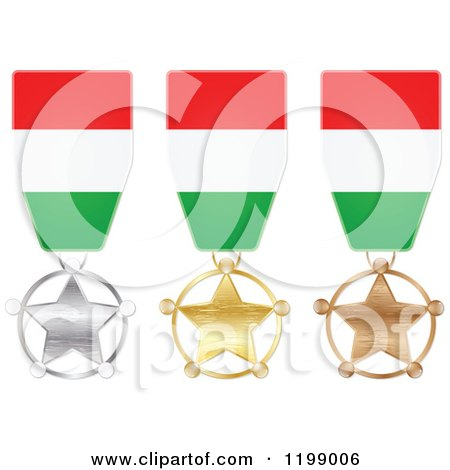 Clipart of Silver Gold and Bronze Star Medals with Hungarian Flag Ribbons - Royalty Free Vector Illustration by Andrei Marincas