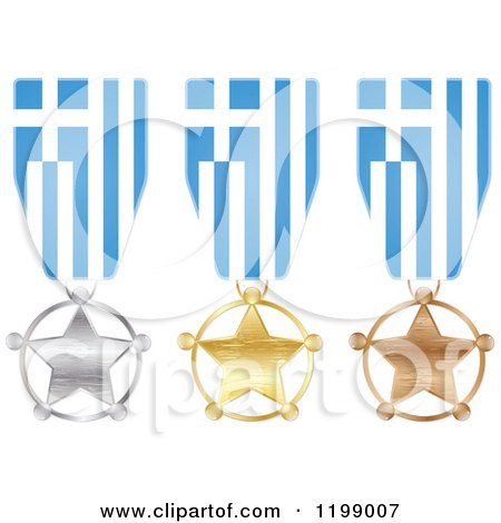 Clipart of Silver Gold and Bronze Star Medals with Greece Flag Ribbons - Royalty Free Vector Illustration by Andrei Marincas