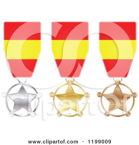 Clipart of Silver Gold and Bronze Star Medals with Spanish Flag Ribbons - Royalty Free Vector Illustration by Andrei Marincas