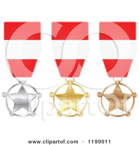 Clipart of Silver Gold and Bronze Star Medals with Austrian Flag Ribbons - Royalty Free Vector Illustration by Andrei Marincas