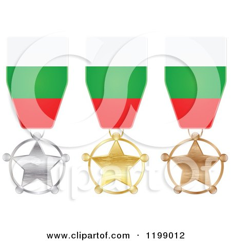 Clipart of Silver Gold and Bronze Star Medals with Bulgarian Flag Ribbons - Royalty Free Vector Illustration by Andrei Marincas