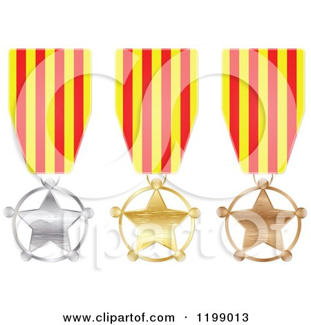 Clipart of Silver Gold and Bronze Star Medals with Catalonia Flag Ribbons - Royalty Free Vector Illustration by Andrei Marincas