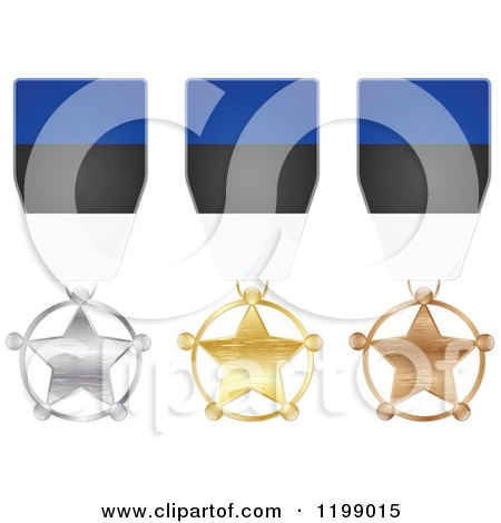 Clipart of Silver Gold and Bronze Star Medals with Estonian Flag Ribbons - Royalty Free Vector Illustration by Andrei Marincas