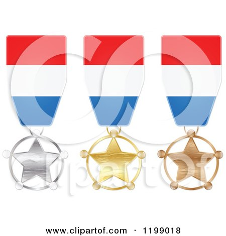 Clipart of Silver Gold and Bronze Star Medals with Luxembourg Flag Ribbons - Royalty Free Vector Illustration by Andrei Marincas