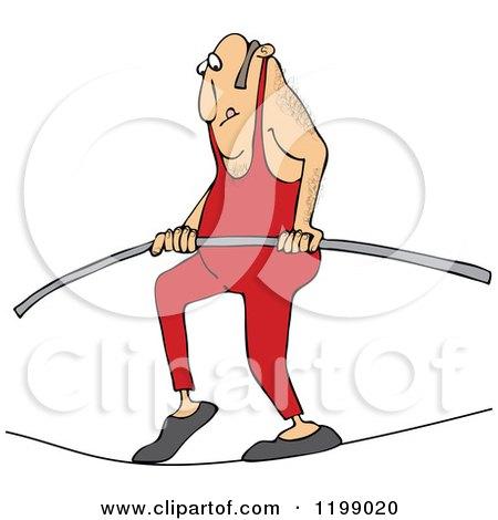 Cartoon Of A Daredevil Man Tight Rope Walking Royalty Free Vector Clipart