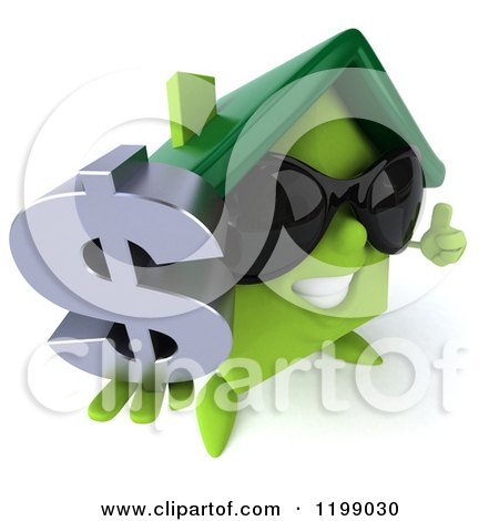 Clipart of a 3d Happy Green House Wearing Sunglasses and Holding a Dollar Symbol and Thumb up - Royalty Free CGI Illustration by Julos