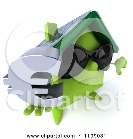 Clipart of a 3d Unhappy Green House Wearing Sunglasses and Holding a Euro Symbol and a Thumb down - Royalty Free CGI Illustration by Julos