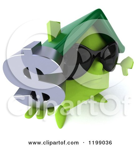 Clipart of a 3d Unhappy Green House Wearing Sunglasses and Holding a Dollar Symbol and Thumb down - Royalty Free CGI Illustration by Julos