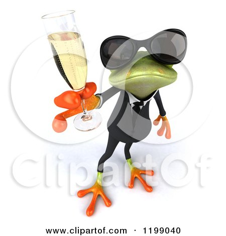 Clipart of a 3d Formal Frog with Sunglasses and Champagne 3 - Royalty Free CGI Illustration by Julos