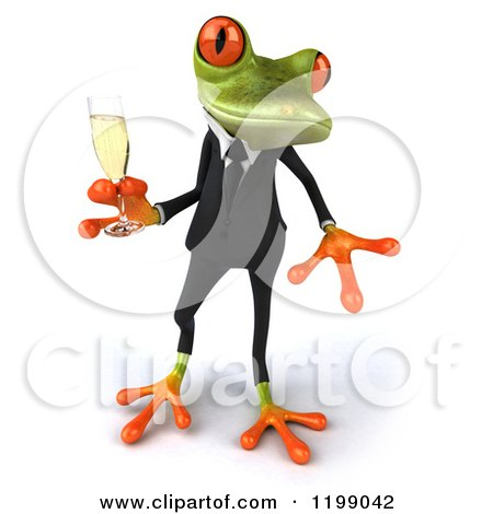 Clipart of a 3d Business Springer Frog Toasting with Champagne 5 - Royalty Free CGI Illustration by Julos