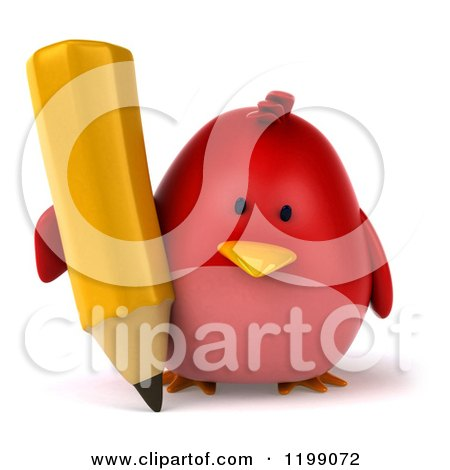Clipart of a 3d Chubby Red Bird Writing with a Pencil - Royalty Free CGI Illustration by Julos