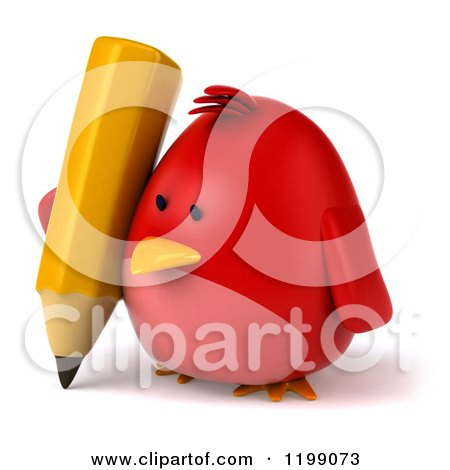 Clipart of a 3d Chubby Red Bird Writing with a Pencil 2 - Royalty Free CGI Illustration by Julos