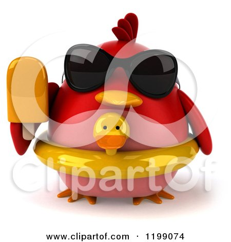 Clipart of a 3d Chubby Red Bird with a Popsicle Sunglasses and Inner Tube - Royalty Free CGI Illustration by Julos