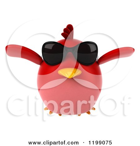 Clipart of a 3d Chubby Red Bird Wearing Sunglasses and Flying - Royalty Free CGI Illustration by Julos