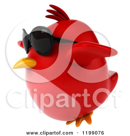 Clipart of a 3d Chubby Red Bird Wearing Sunglasses and Flying 2 - Royalty Free CGI Illustration by Julos