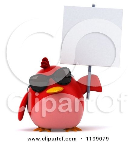 Clipart of a 3d Chubby Red Bird Wearing Sunglasses and Holding a Sign - Royalty Free CGI Illustration by Julos