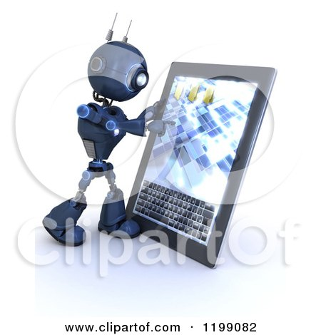 Clipart of a 3d Blue Android Robot Using a Tablet Computer - Royalty Free CGI Illustration by KJ Pargeter